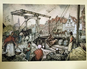 Vintage Anton Pieck Hoorn Print Boat Dock 1974 Printed in Holland Lithograph