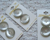 Six Silvery Pearly Vintage Buttons on Cards by Streamline, 1 inch diameter