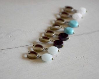 Earrings creole mini and fine stone