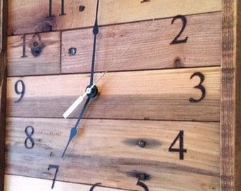 "Rustic Wall Clock, Square Pallet wood Wall clock, Anniversary clock, 20"" laser engraved clock, large clock, industrial clock, reclaimed wood"
