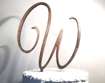 Wooden Wedding Cake Topper: Letter W, Monogram Cake Topper, Rustic Cake Topper, Handmade Cake Topper
