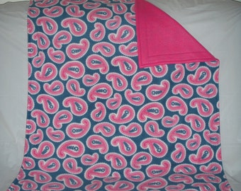 Pet Blanket - pretty pink paisley on navy blue print fleece with solid pink fleece on the reverse side.