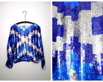 80's Geometric Sequin Top // Bright Blue and Silver Sequined Blouse