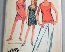 "SALE 1960s Sleeveless Sundress Dress Tank Top and Pants Jiffy sewing pattern Simplicity 7702 Size 12 Bust 34"" UNCUT"