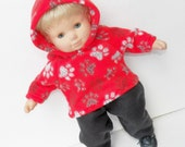 "bitty baby clothes, boy, girl, or twin 15"" doll, red black white paw print,hoodie hooded fleece jacket pants handmade adorabledolldesigns"