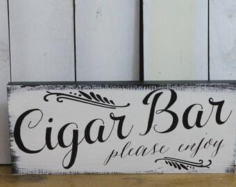 CIGAR BAR Sign/ Wedding Sign/U choose color/Great Shower Gift/Vintage Style/Black/white/Wood Sign/Cigar
