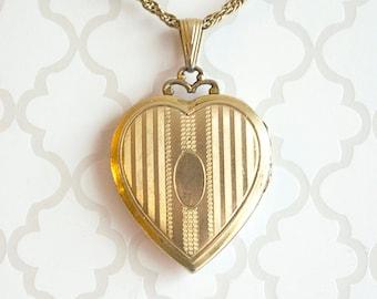 Vintage Gold Filled Heart Locket Necklace, large gold filled heart locket, Art Deco heart locket, dated 1937 heart locket, inscribed date