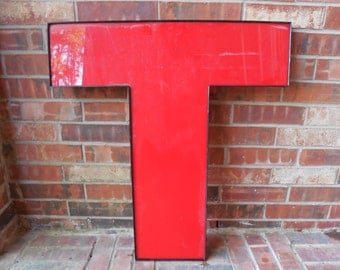 "GIANT Reclaimed RED Plastic Sign Letter ""T"", Valentine, Wedding, Industrial Salvage, Home Decor, Office Decor, Industrial Decor"