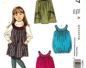 McCall's Stitch N Save M6377 Girl's Jumper with Optional Bubble Hem Sewing Pattern