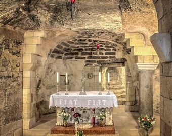 Israel Photography, Fine Art Photography, Mary's Grotto, Nazareth, Basilica Of The Annunciation, Holy Land Photo, Large Wall Art