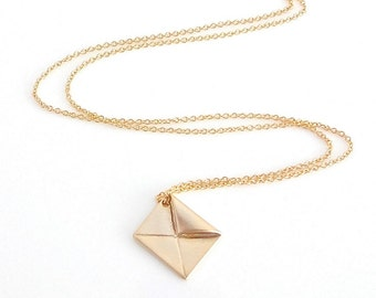 Dainty Gold Envelope Necklace, Gold Envelope Charm, Delicate Fine Chain, Fine Gold Necklace