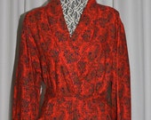 Maxi  Red Wool & Cotton Paisley Robe Bard's VIYELLA GENUINE by BARDS Canada 1970s