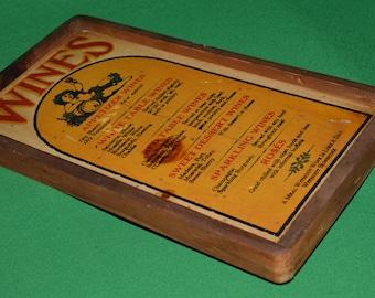 Vintage Wood Wall  Old Wines Panel Advertising  Stars & Stripes Waltham 1970