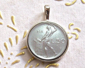 Vintage Coin Pendant Italy 1968 lire 50.  Italian Republic  50 Lire Vulcano. The god of fire. art. 6087-140. 49th birthday, 49th anniversary