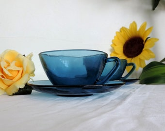 Vereco large square, blue glass, coffee cups, cafe au lait cups, tea cups, set of 2