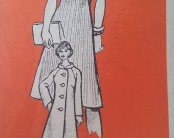 Vintage Workbasket Mail Order Sewing Pattern 9458 One-Piece Dress and Coat Size 14.5