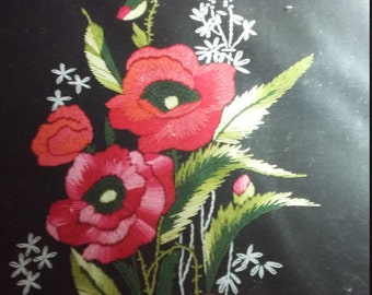 Never Opened Anchor Freestyle Embroidery Kit PE648 Poppies with Gorgeous Threads and Black Printed Fabric Made in Hungary