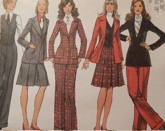 UNCUT and FF Pattern Pieces Vintage Simplicity 5140 Sewing Pattern Size 14 Blazer, Skirt, Vest and Pants