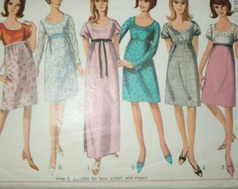 Vintage Simplicity 6442 Sewing Pattern Size 13 Bust 33 Empire Waist Evening Dress with Puff Sleeve Option 1966 Pattern