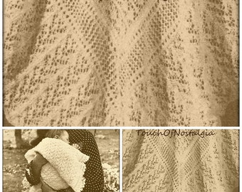 2 LACY Baby SHAWL Knitting Patterns - Heirloom FAIRY Lace Baby Shawl - Both Styles Included /Heirloom Christening Baptism Special Occasion