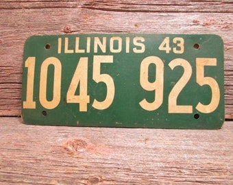 1943 Illinois License Plate 1045 925 Soy Fiber Board  Vintage Car Plate
