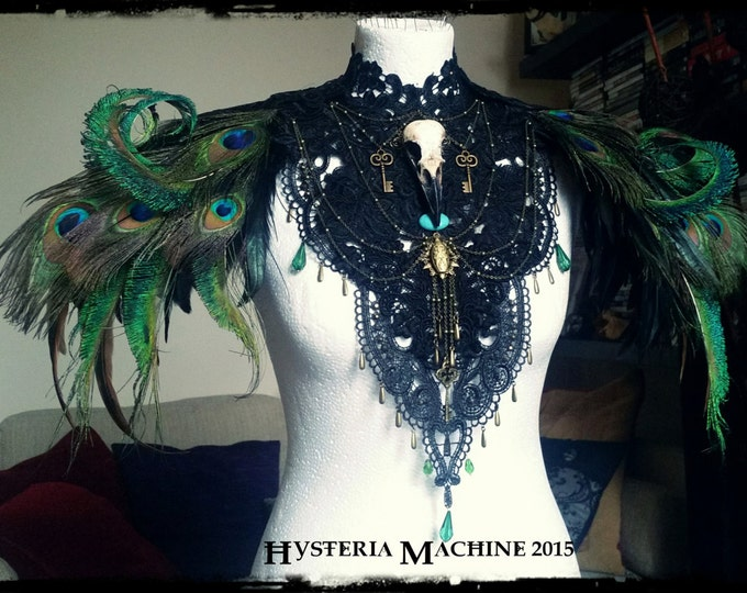 Peacock Feather and Skull Shoulder Piece Made to Order