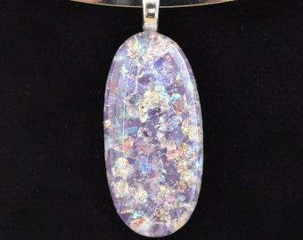 Handmade Dichroic Glass Pendant.