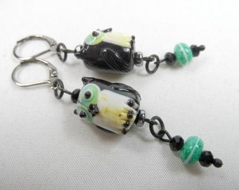 Black Lampwork Owl Leverback Earrings with Blue/Green and Yellow Accents - Gunmetal in 2.5 inch length