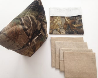 Camo Reuseable Sandwich Bags/snack bags/washable lunch sac/set of 6