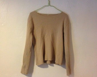 1980's Vintage Camel Ribbed Knit Sweater Jumper Top Long Sleeves