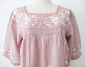 Embroidered Mexican Blouse Cotton Top, Boho Blouse, Hippie Top, Bohemian Style