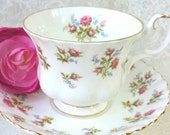 Royal ALBERT Winsome Vintage China Tea Cup and Saucer, cross stitch design, Vintage Wedding,  Tea Party