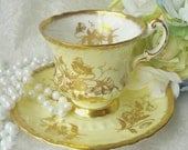 PARAGON  Pale Butter Yellow and Gold/ Fine Bone China Tea Cup and Saucer / Tea party/,vintage teacup