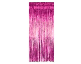 3 'x 8' Rose Pink Foil Metallic Fringe Curtain Backdrop Party Decoration Wall Hanging Tinsel Dinner Bridal Valentine's Day Bachelorette