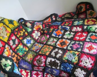 HOLD FOR LACY 70s Crochet Granny Square Lap Blanket Bohemian Blankets Crochet Afghan