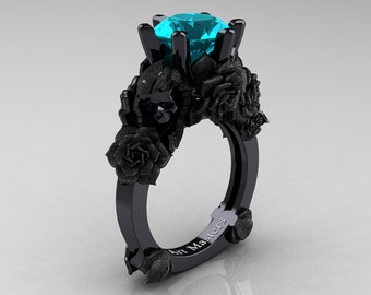Love and Sorrow 14K Black Gold 3.0 Ct Paraiba Tourmaline Skull and Rose Solitaire Engagement Ring R713-14KBGSPTU