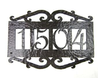 APH14 Rustic Mediterranean Spanish Revival style  address plaque 4 number custom