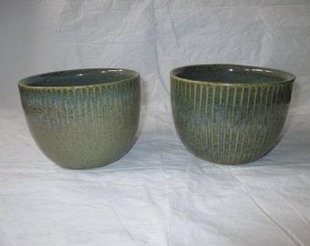 2 Zanesville Stoneware Co ZSC Stoneage Modern Pots / Jardinieres #4504, Green (ca. 1960s)