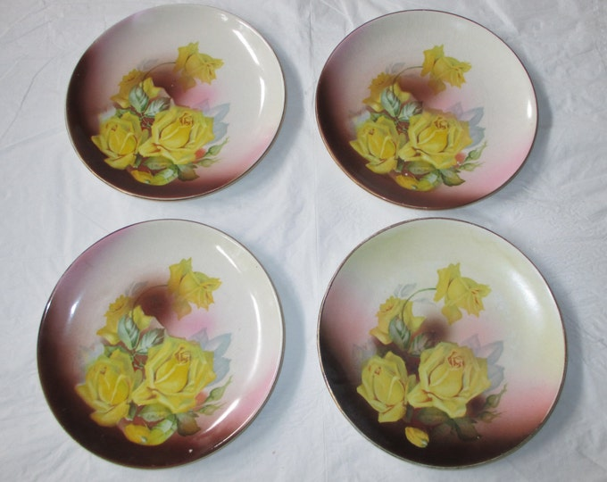 """4 Antique 6.5"""" Whiteware Plates, Dresden China (US), Yellow Roses on Pink (ca. 1910)"""