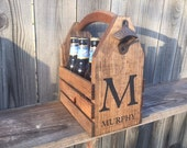 Personalized Rustic 6-pack beer bottle carrier 12 oz longnecks wood homebrew tote new gift wedding groomsman birthday fathers day