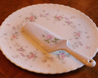 "Mikasa China ""Remembrance"" Cake Serving Plate and  ""April Rose"" Pink Rose Pattern Ceramic Cake or Pie Server"