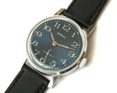 Classy Mens Watch. Blue Dial Vintage Watch Victory. Mechanical Mens Dress Watch. Genuine Leather Strap Watch Gent's Wrist Watch Gift For Him