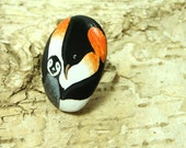 Hand painted rock ring - Penguins black & white