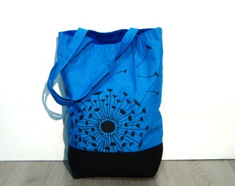 Turquoise, black tote bag hand made hand painted, dandelionin the wind