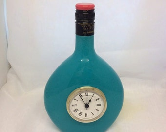 Rose Wine Bottle with Quartz Clock - Blue