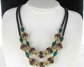 ON SALE BURGUNDY Green gold tone filigree Glass 2 row multi strand necklace beaded