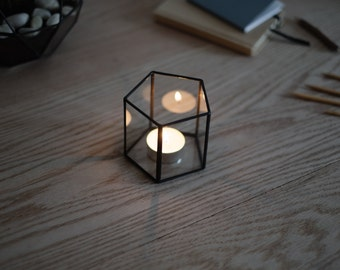 FREE SHIPPING - glass candle holder