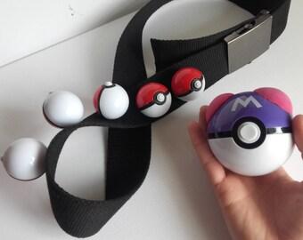 Pokemon trainer belt for cosplay- 5 small pokéballs + 1 big pokéball!