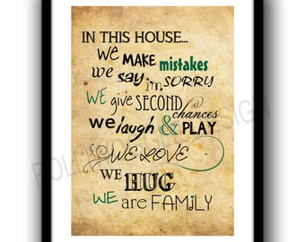House rules, Art print , Nostalgic, Typography poster