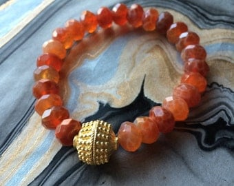 Orange Fire Agate and Gold Plated Bead